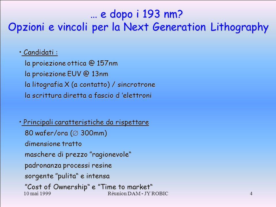 10 mai 1999Réunion DAM - JY ROBIC4 … e dopo i 193 nm.