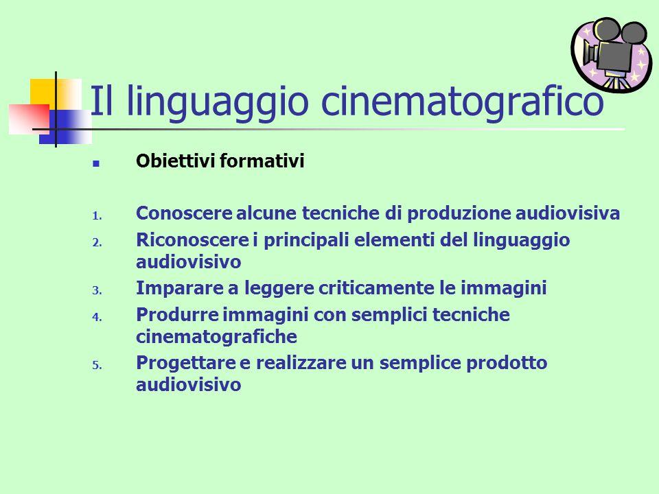 Il linguaggio cinematografico Obiettivi formativi 1. Conoscere alcune tecniche di produzione audiovisiva 2. Riconoscere i principali elementi del ling