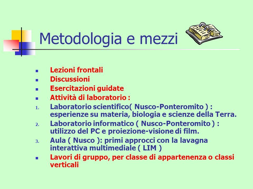Metodologia e mezzi Lezioni frontali Discussioni Esercitazioni guidate Attività di laboratorio : 1. Laboratorio scientifico( Nusco-Ponteromito ) : esp