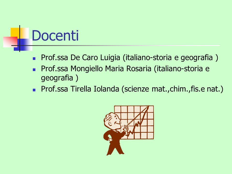 Docenti Prof.ssa De Caro Luigia (italiano-storia e geografia ) Prof.ssa Mongiello Maria Rosaria (italiano-storia e geografia ) Prof.ssa Tirella Ioland