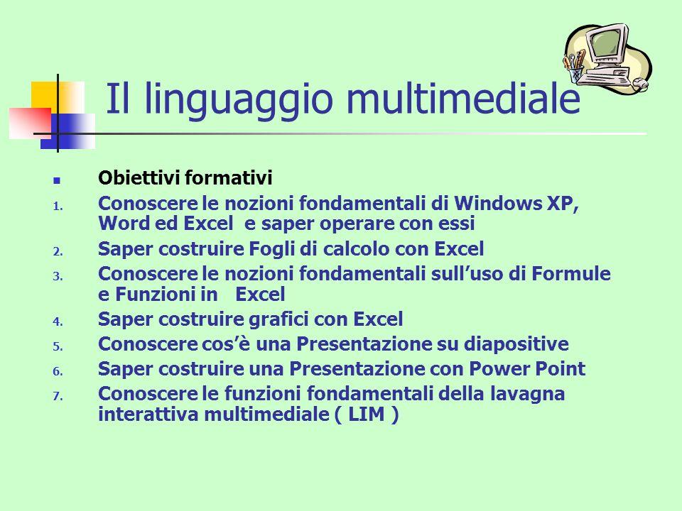 Il linguaggio multimediale Obiettivi formativi 1. Conoscere le nozioni fondamentali di Windows XP, Word ed Excel e saper operare con essi 2. Saper cos