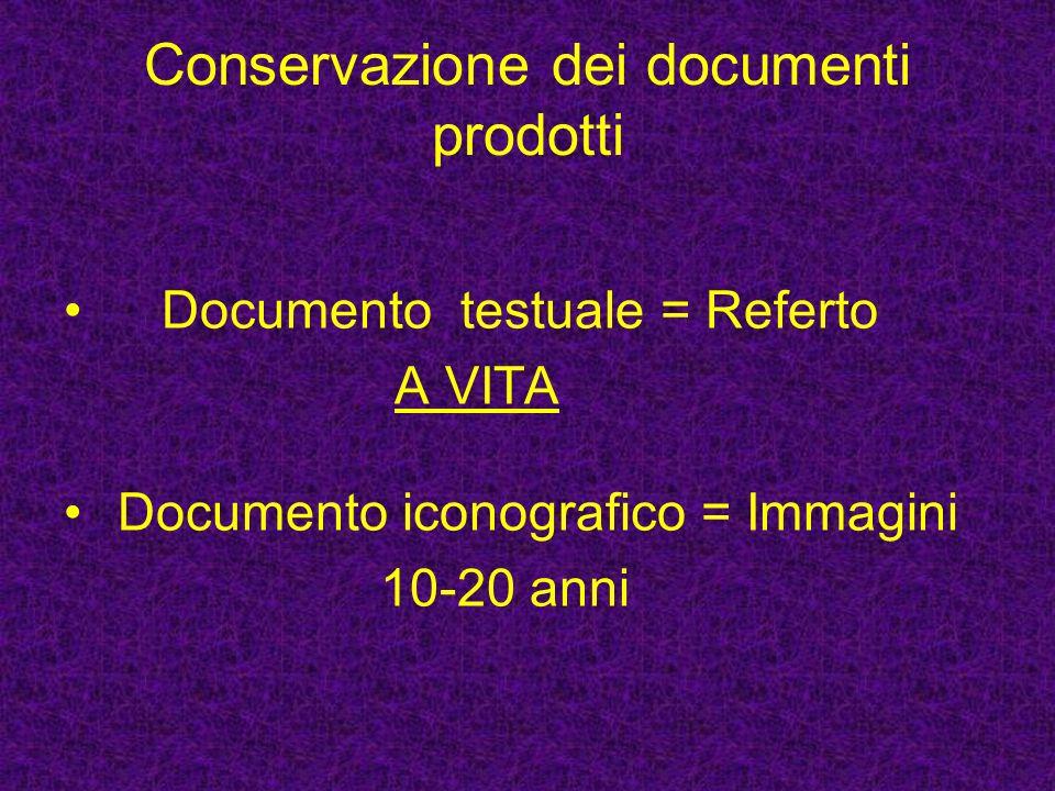 Supporti di archiviazione REFERTO: Cartaceo (con firma olografa) o supporto ottico non riscrivibile (con firma digitale) IMMAGINI: pellicola (o comunemente chiamata lastra), carta o supporto ottico (CD - DVD)