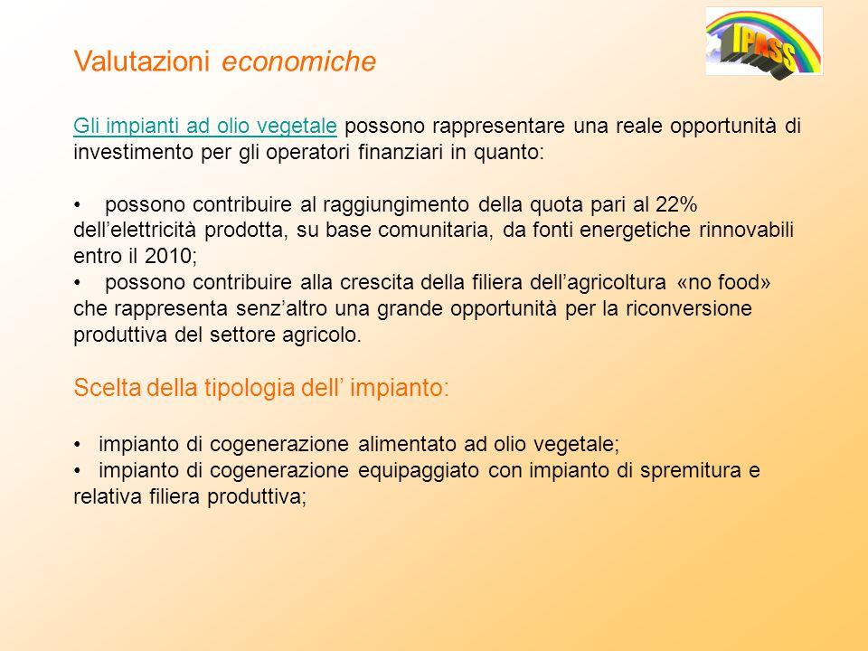 Valutazioni economiche Gli impianti ad olio vegetale possono rappresentare una reale opportunità di investimento per gli operatori finanziari in quant