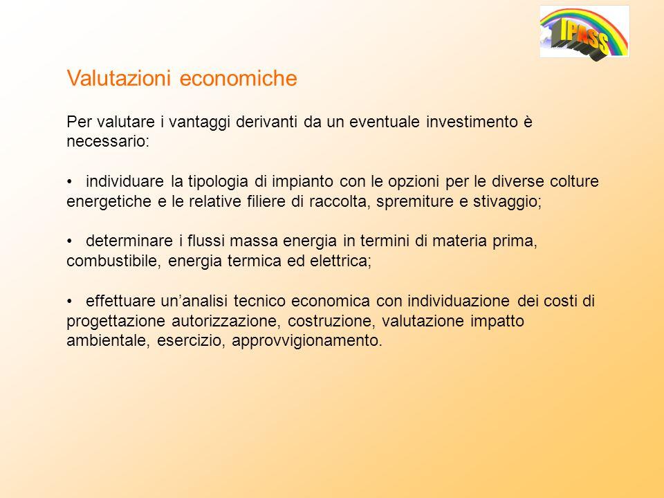Valutazioni economiche Per valutare i vantaggi derivanti da un eventuale investimento è necessario: individuare la tipologia di impianto con le opzion