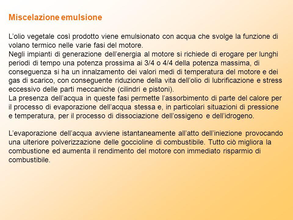 Miscelazione emulsione Lolio vegetale così prodotto viene emulsionato con acqua che svolge la funzione di volano termico nelle varie fasi del motore.