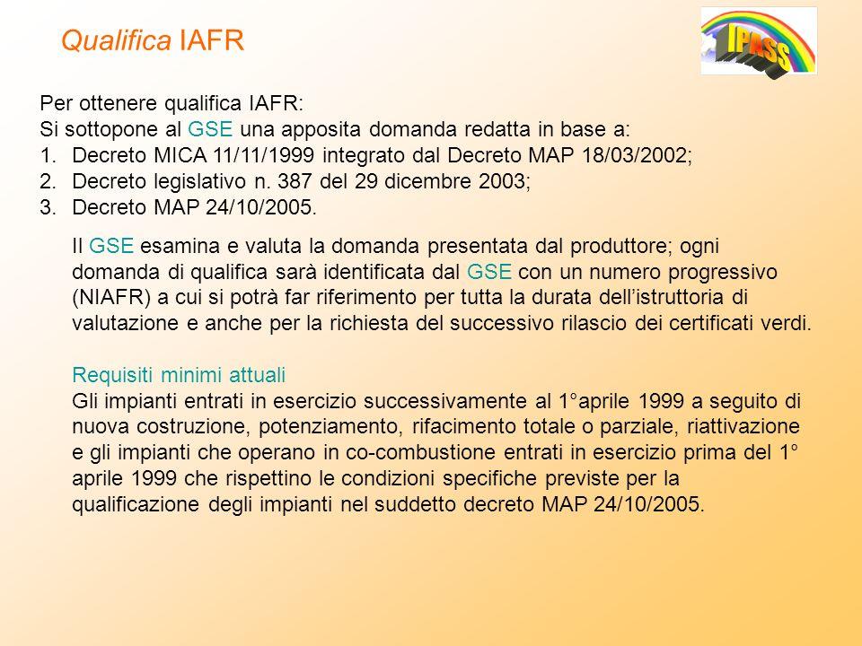 Per ottenere qualifica IAFR: Si sottopone al GSE una apposita domanda redatta in base a: 1.Decreto MICA 11/11/1999 integrato dal Decreto MAP 18/03/200