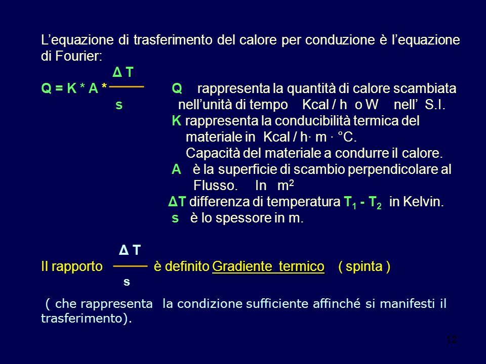 12 Lequazione di trasferimento del calore per conduzione è lequazione di Fourier: Δ T Q = K * A * Q rappresenta la quantità di calore scambiata s nell