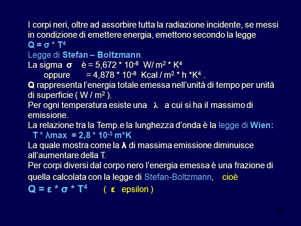 33 I corpi neri, oltre ad assorbire tutta la radiazione incidente, se messi in condizione di emettere energia, emettono secondo la legge Q = σ * T 4 L