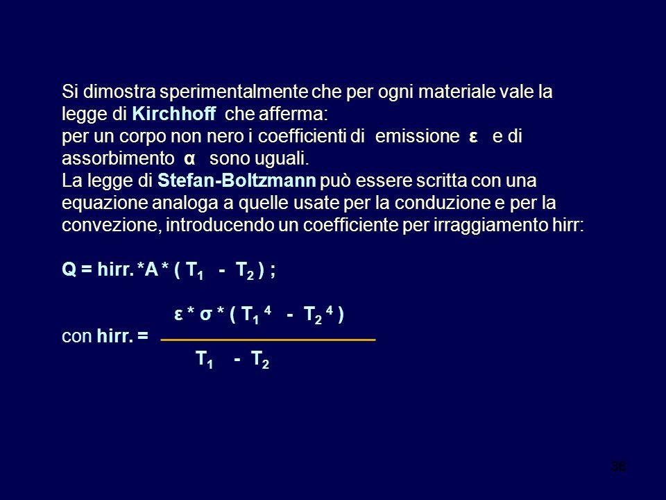 36 Si dimostra sperimentalmente che per ogni materiale vale la legge di Kirchhoff che afferma: per un corpo non nero i coefficienti di emissione ε e d