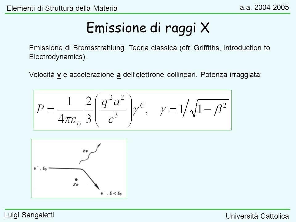 Emissione di raggi X Elementi di Struttura della Materia a.a. 2004-2005 Luigi Sangaletti Università Cattolica Emissione di Bremsstrahlung. Teoria clas