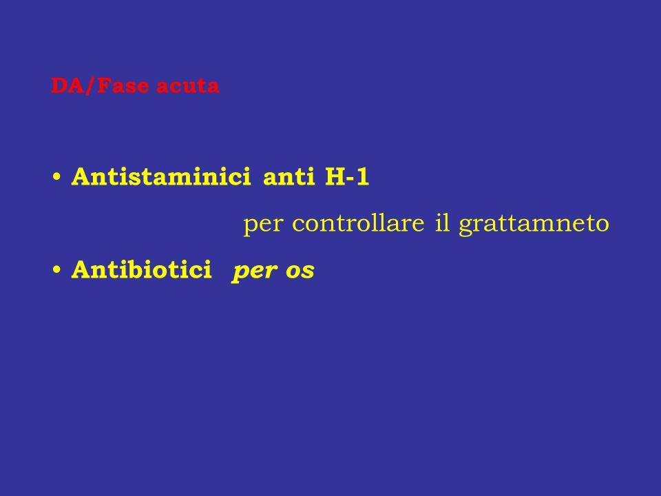 DA/Fase acuta Antistaminici anti H-1 per controllare il grattamneto Antibiotici per os