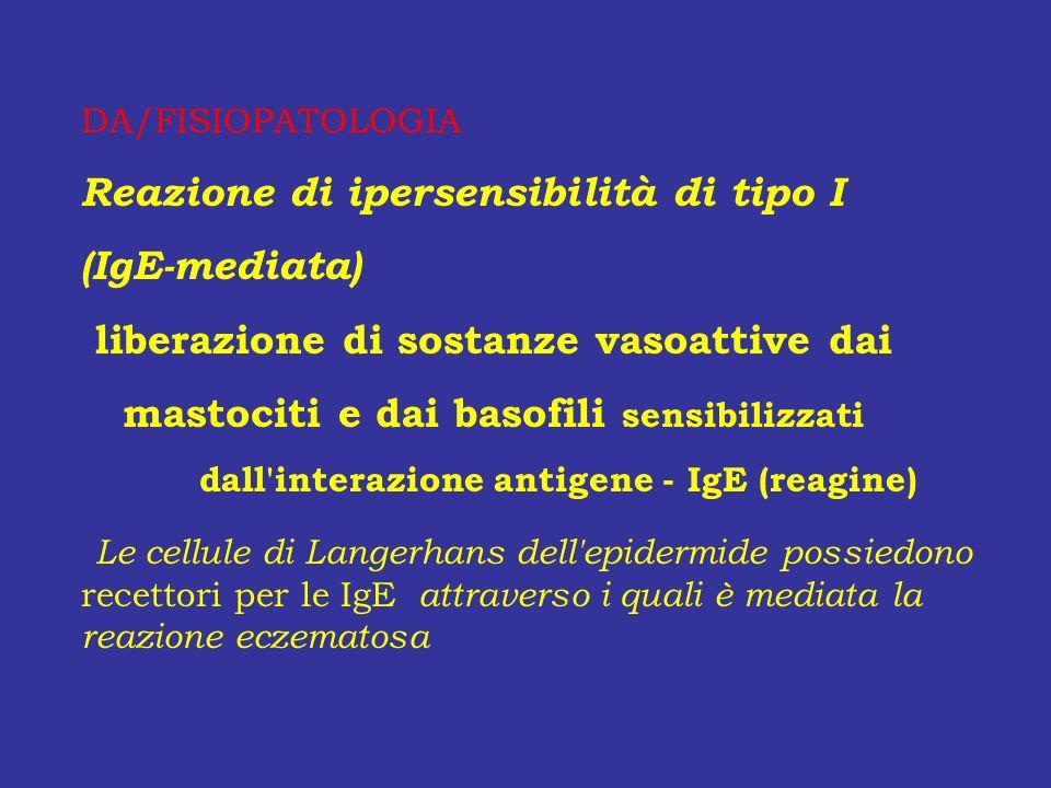 DA/FISIOPATOLOGIA Reazione di ipersensibilità di tipo I (IgE-mediata) liberazione di sostanze vasoattive dai mastociti e dai basofili sensibilizzati d