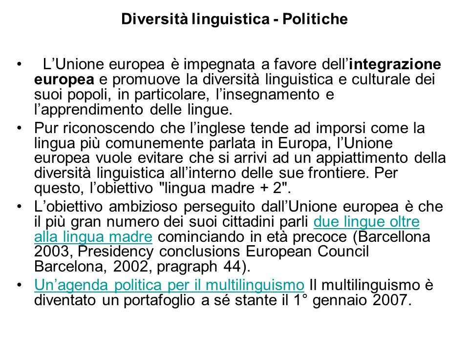 Diversità linguistica - Politiche LUnione europea è impegnata a favore dellintegrazione europea e promuove la diversità linguistica e culturale dei suoi popoli, in particolare, linsegnamento e lapprendimento delle lingue.