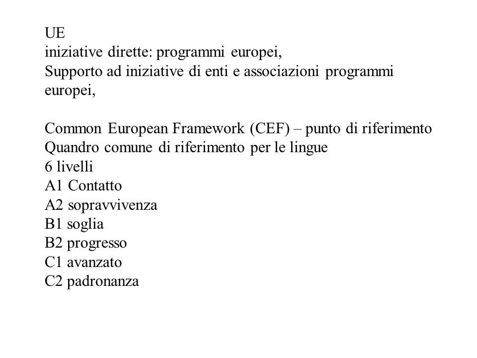 UE iniziative dirette: programmi europei, Supporto ad iniziative di enti e associazioni programmi europei, Common European Framework (CEF) – punto di riferimento Quandro comune di riferimento per le lingue 6 livelli A1 Contatto A2 sopravvivenza B1 soglia B2 progresso C1 avanzato C2 padronanza