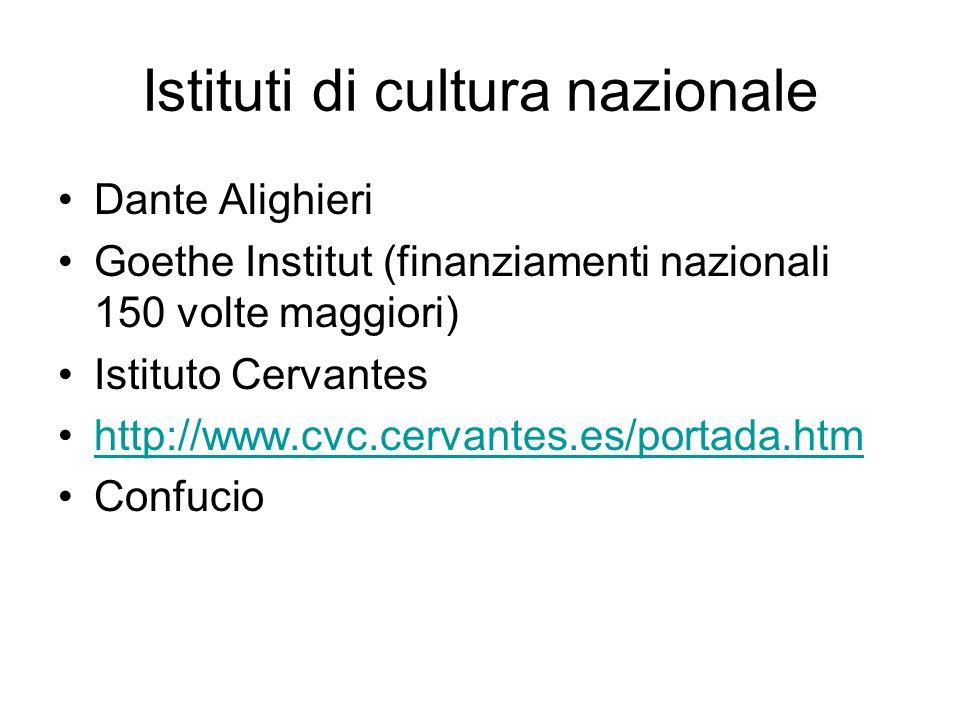 Istituti di cultura nazionale Dante Alighieri Goethe Institut (finanziamenti nazionali 150 volte maggiori) Istituto Cervantes http://www.cvc.cervantes.es/portada.htm Confucio