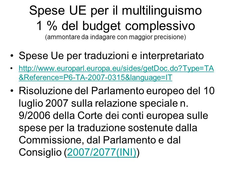 Spese UE per il multilinguismo 1 % del budget complessivo (ammontare da indagare con maggior precisione) Spese Ue per traduzioni e interpretariato http://www.europarl.europa.eu/sides/getDoc.do Type=TA &Reference=P6-TA-2007-0315&language=IThttp://www.europarl.europa.eu/sides/getDoc.do Type=TA &Reference=P6-TA-2007-0315&language=IT Risoluzione del Parlamento europeo del 10 luglio 2007 sulla relazione speciale n.