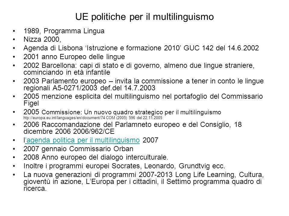 UE politiche per il multilinguismo 1989, Programma Lingua Nizza 2000, Agenda di Lisbona Istruzione e formazione 2010 GUC 142 del 14.6.2002 2001 anno Europeo delle lingue 2002 Barcellona: capi di stato e di governo, almeno due lingue straniere, cominciando in età infantile 2003 Parlamento europeo – invita la commissione a tener in conto le lingue regionali A5-0271/2003 def.del 14.7.2003 2005 menzione esplicita del multilinguismo nel portafoglio del Commissario Figel 2005 Commissione: Un nuovo quadro strategico per il multilinguismo htp://europa.eu.int/languages/en/document/74 COM (2005) 596 del 22.11.2005 2006 Raccomandazione del Parlamneto europeo e del Consiglio, 18 dicembre 2006 2006/962/CE lagenda politica per il multilinguismo 2007agenda politica per il multilinguismo 2007 gennaio Commissario Orban 2008 Anno europeo del dialogo interculturale.