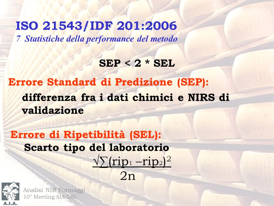 Analisi NIR Formaggi 10° Meeting AIA-LSL SEP < 2 * SEL Errore di Ripetibilità (SEL): Scarto tipo del laboratorio (rip 1 –rip 2 ) 2 2n Errore Standard di Predizione (SEP): differenza fra i dati chimici e NIRS di validazione ISO 21543/IDF 201:2006 7 Statistiche della performance del metodo