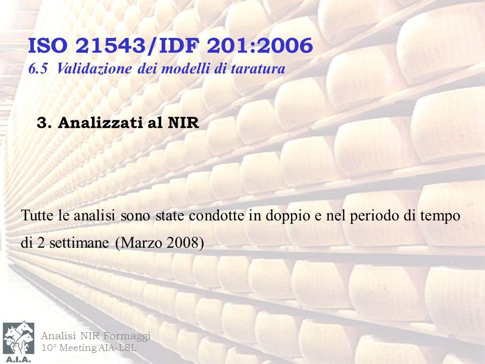 3. Analizzati al NIR Analisi NIR Formaggi 10° Meeting AIA-LSL ISO 21543/IDF 201:2006 6.5 Validazione dei modelli di taratura Tutte le analisi sono sta