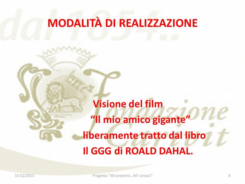 MODALITÀ DI REALIZZAZIONE Visione del film Il mio amico gigante liberamente tratto dal libro Il GGG di ROALD DAHAL. 15/12/20118Progetto: