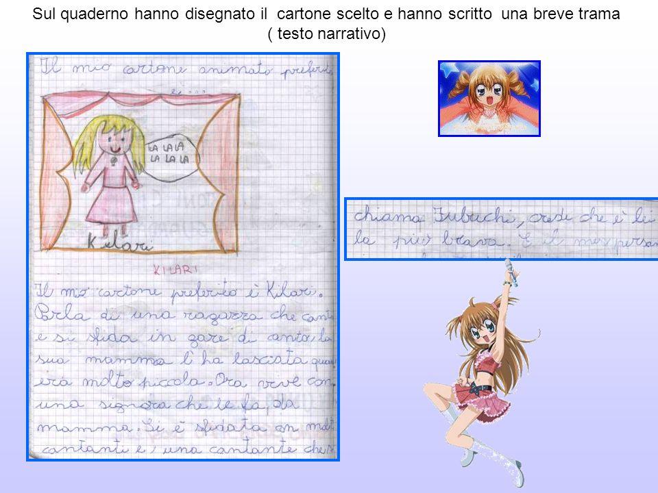 Sul quaderno hanno disegnato il cartone scelto e hanno scritto una breve trama ( testo narrativo)