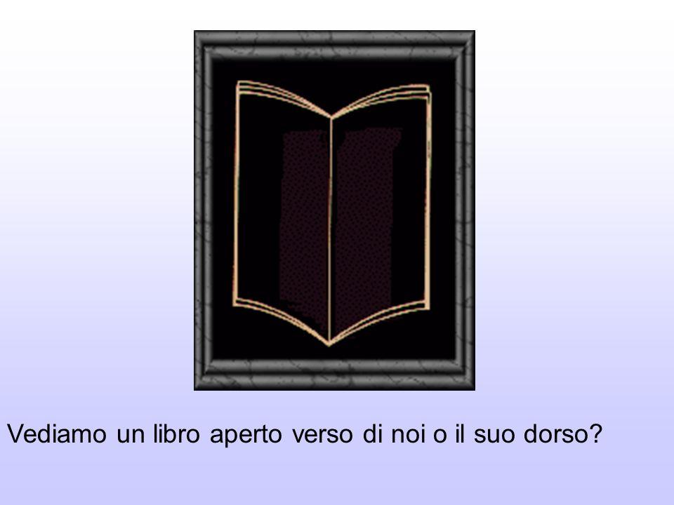 Vediamo un libro aperto verso di noi o il suo dorso?