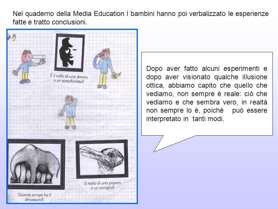 Nel quaderno della Media Education I bambini hanno poi verbalizzato le esperienze fatte e tratto conclusioni. Dopo aver fatto alcuni esperimenti e dop