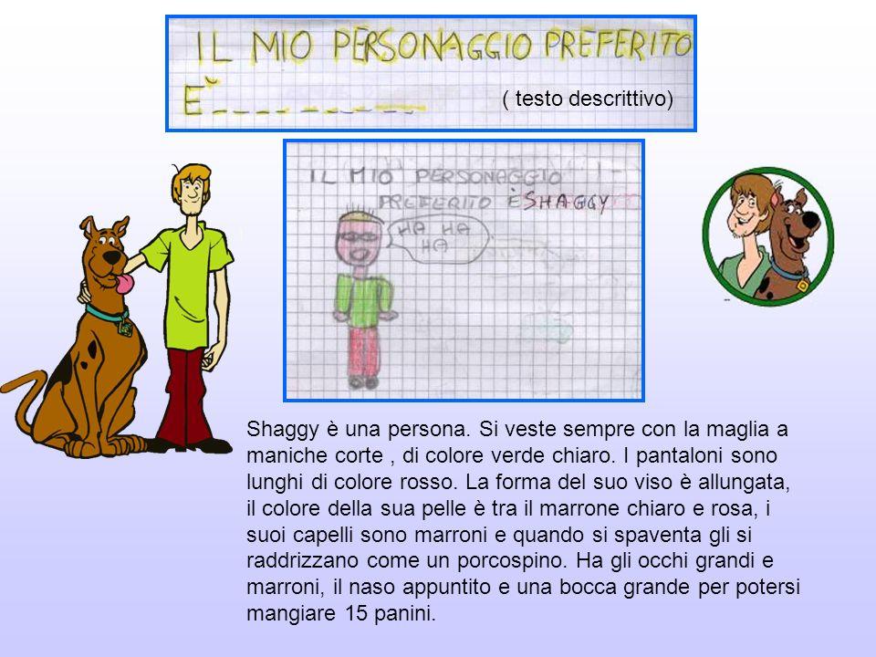 Shaggy è una persona. Si veste sempre con la maglia a maniche corte, di colore verde chiaro. I pantaloni sono lunghi di colore rosso. La forma del suo