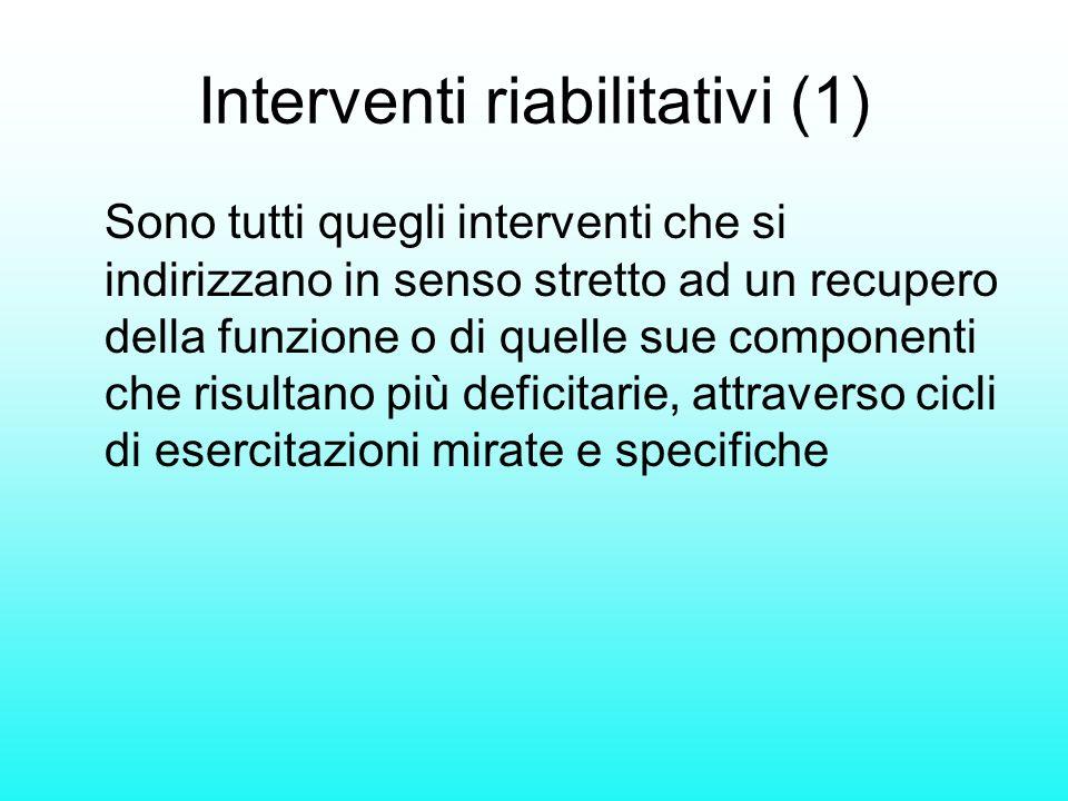 Interventi riabilitativi (1) Sono tutti quegli interventi che si indirizzano in senso stretto ad un recupero della funzione o di quelle sue componenti