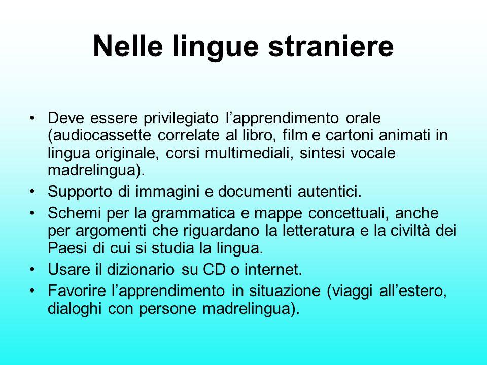Nelle lingue straniere Deve essere privilegiato lapprendimento orale (audiocassette correlate al libro, film e cartoni animati in lingua originale, co