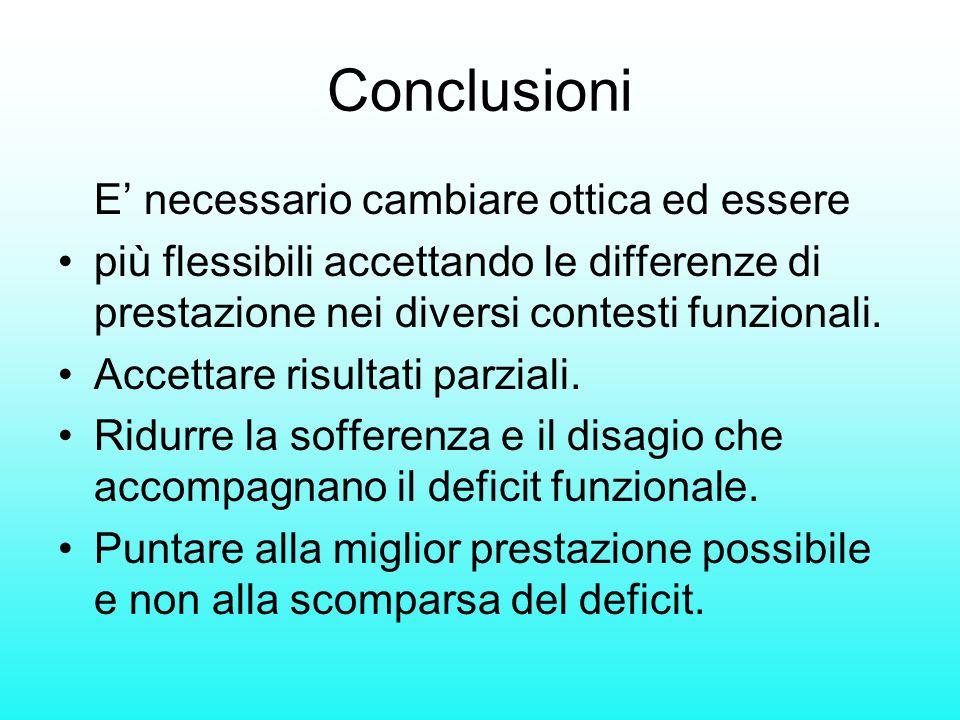 Conclusioni E necessario cambiare ottica ed essere più flessibili accettando le differenze di prestazione nei diversi contesti funzionali. Accettare r