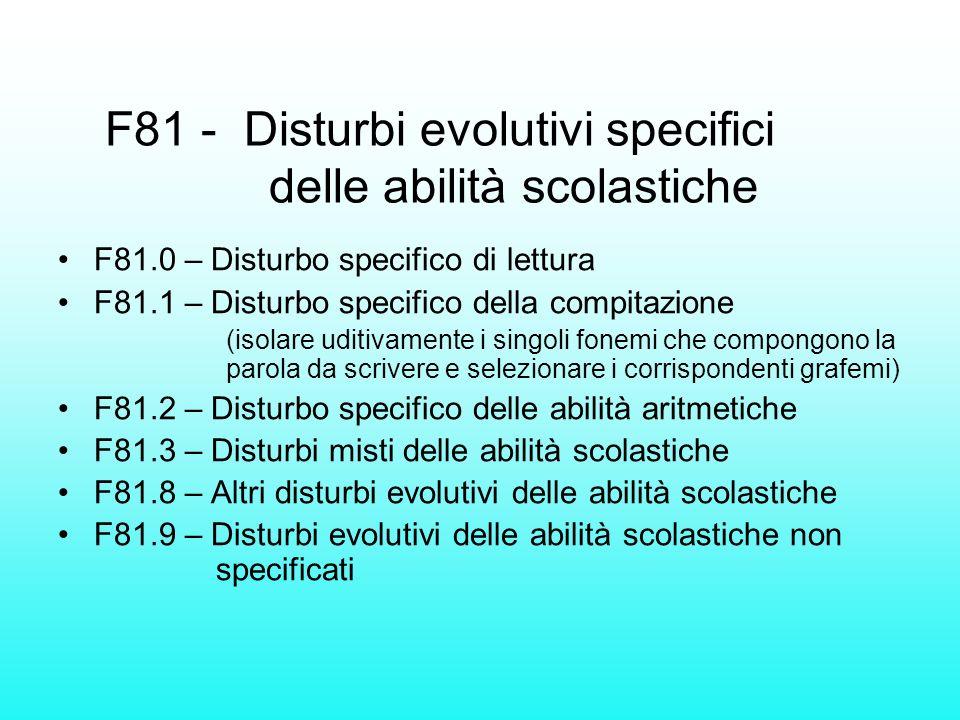 F81 - Disturbi evolutivi specifici delle abilità scolastiche F81.0 – Disturbo specifico di lettura F81.1 – Disturbo specifico della compitazione (isol