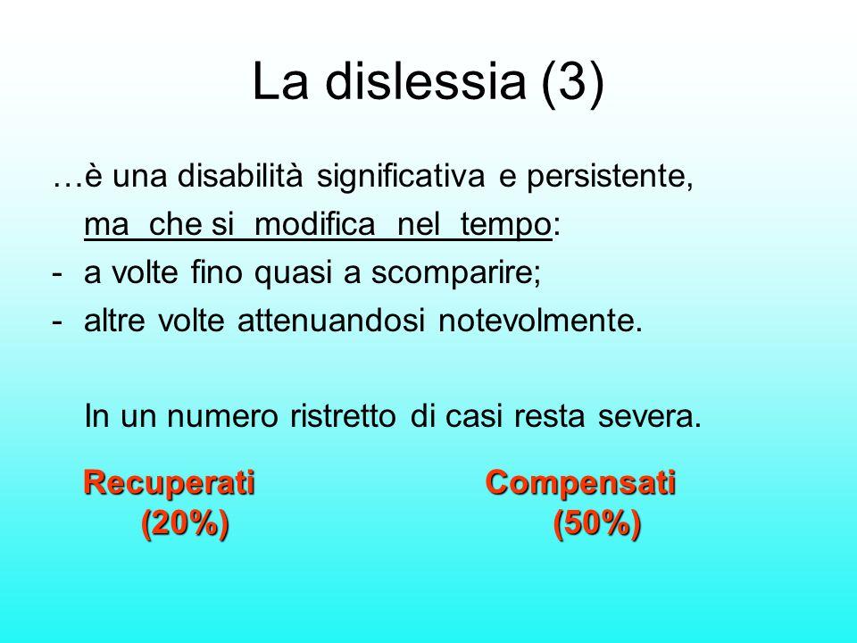 La dislessia (3) …è una disabilità significativa e persistente, ma che si modifica nel tempo: - a volte fino quasi a scomparire; -altre volte attenuan