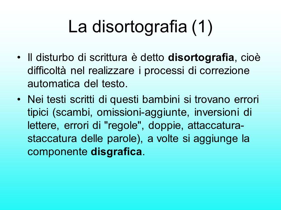 La disortografia (1) Il disturbo di scrittura è detto disortografia, cioè difficoltà nel realizzare i processi di correzione automatica del testo. Nei