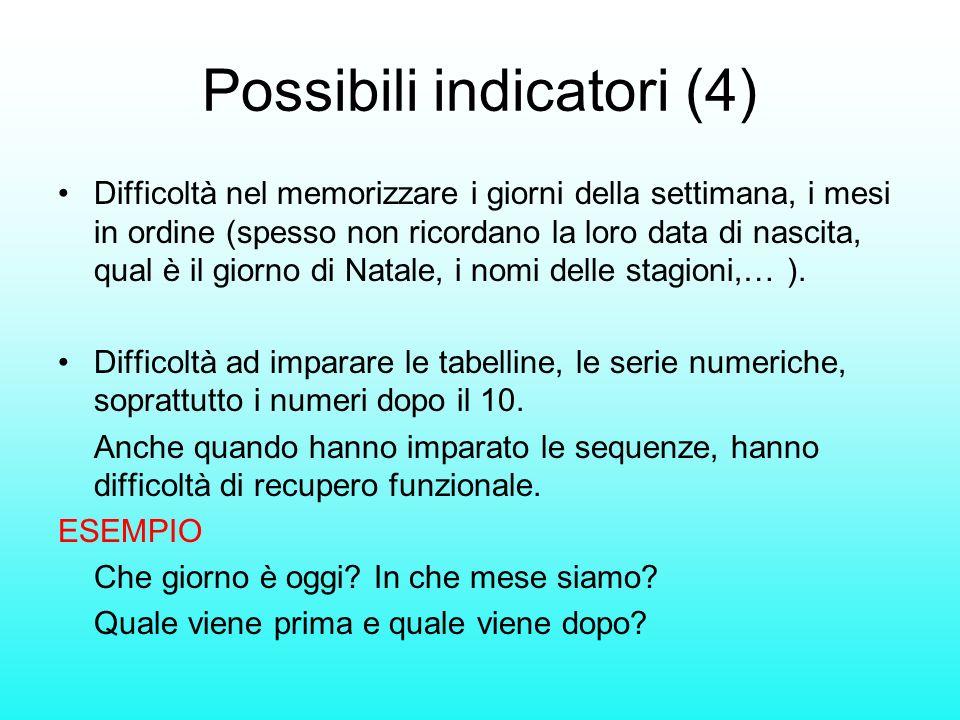 Possibili indicatori (4) Difficoltà nel memorizzare i giorni della settimana, i mesi in ordine (spesso non ricordano la loro data di nascita, qual è i