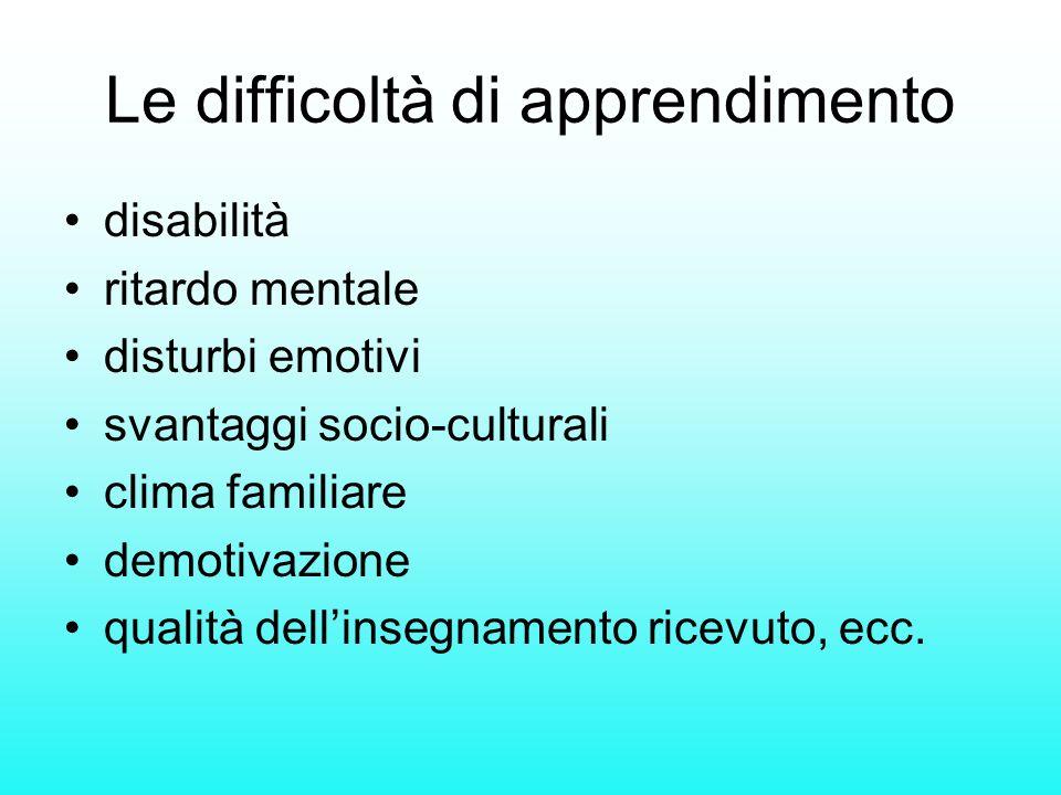 Le difficoltà di apprendimento disabilità ritardo mentale disturbi emotivi svantaggi socio-culturali clima familiare demotivazione qualità dellinsegna