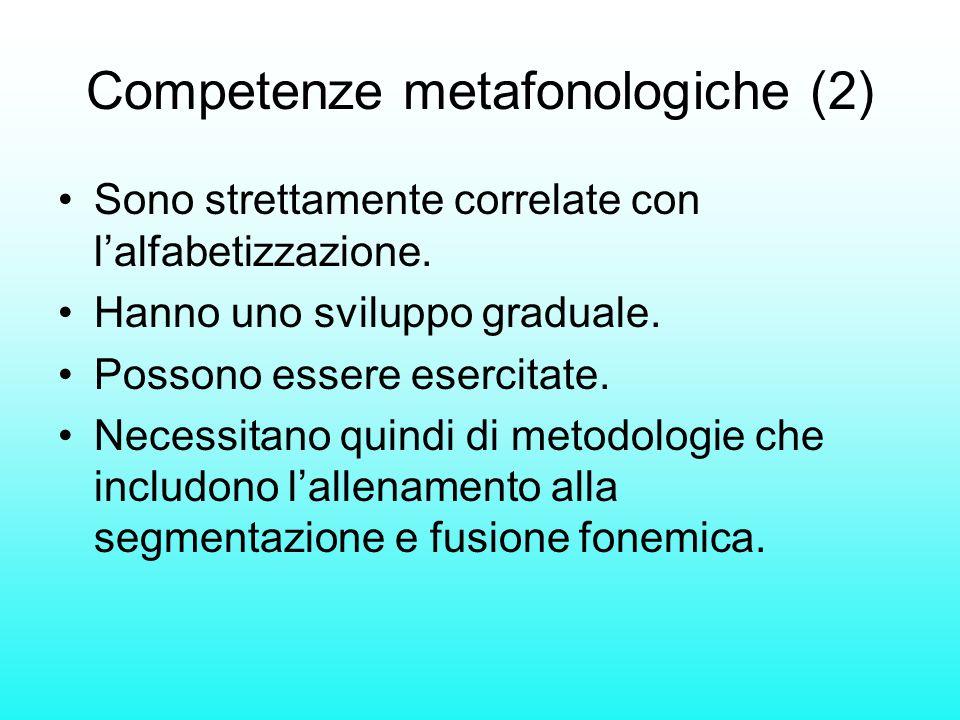 Competenze metafonologiche (2) Sono strettamente correlate con lalfabetizzazione. Hanno uno sviluppo graduale. Possono essere esercitate. Necessitano