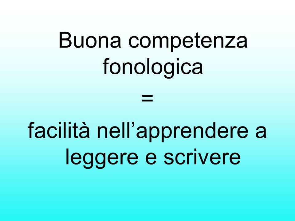 Buona competenza fonologica = facilità nellapprendere a leggere e scrivere