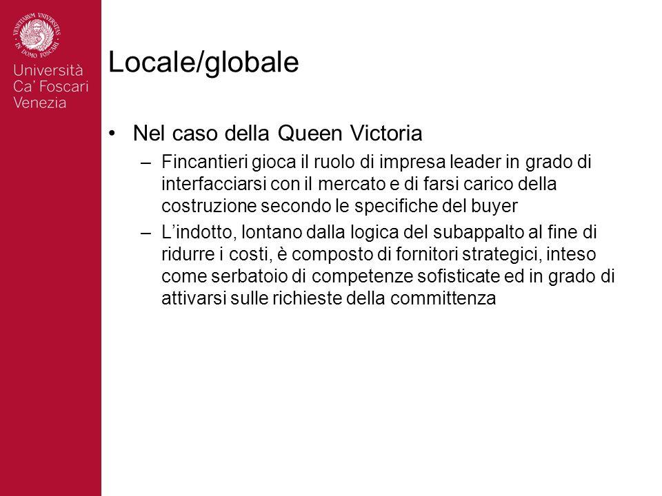 Locale/globale Nel caso della Queen Victoria –Fincantieri gioca il ruolo di impresa leader in grado di interfacciarsi con il mercato e di farsi carico