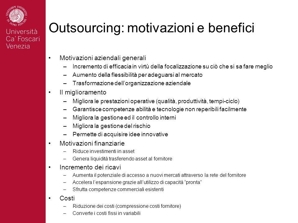 Outsourcing: motivazioni e benefici Motivazioni aziendali generali –Incremento di efficacia in virtù della focalizzazione su ciò che si sa fare meglio