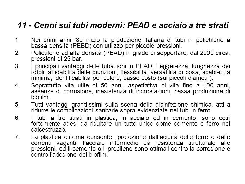 11 - Cenni sui tubi moderni: PEAD e acciaio a tre strati 1.Nei primi anni 80 iniziò la produzione italiana di tubi in polietilene a bassa densità (PEB