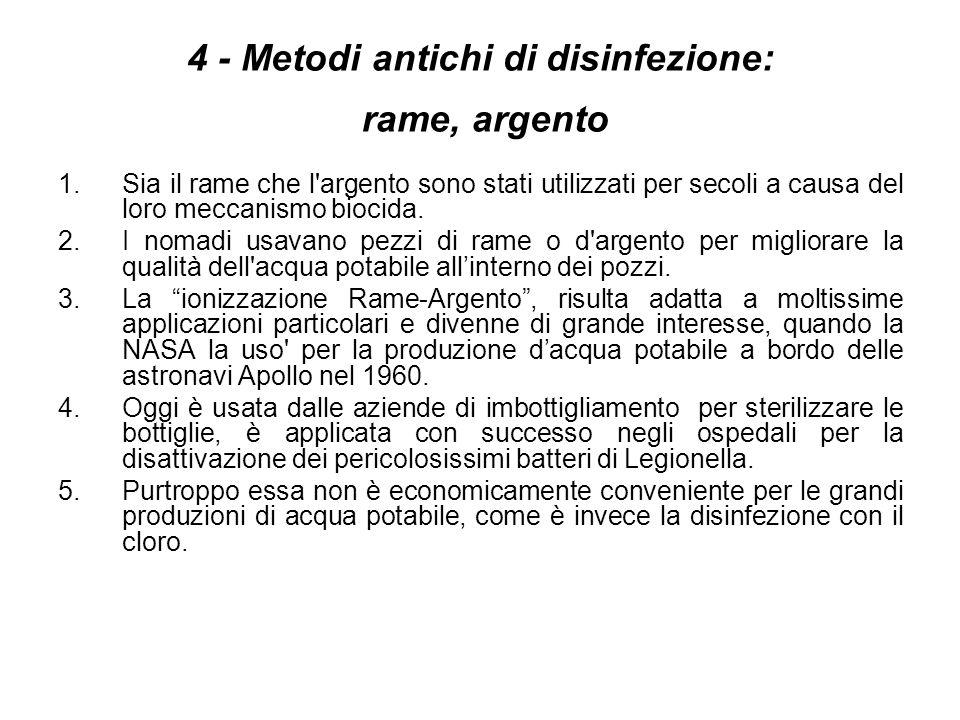 4 - Metodi antichi di disinfezione: rame, argento 1.Sia il rame che l'argento sono stati utilizzati per secoli a causa del loro meccanismo biocida. 2.