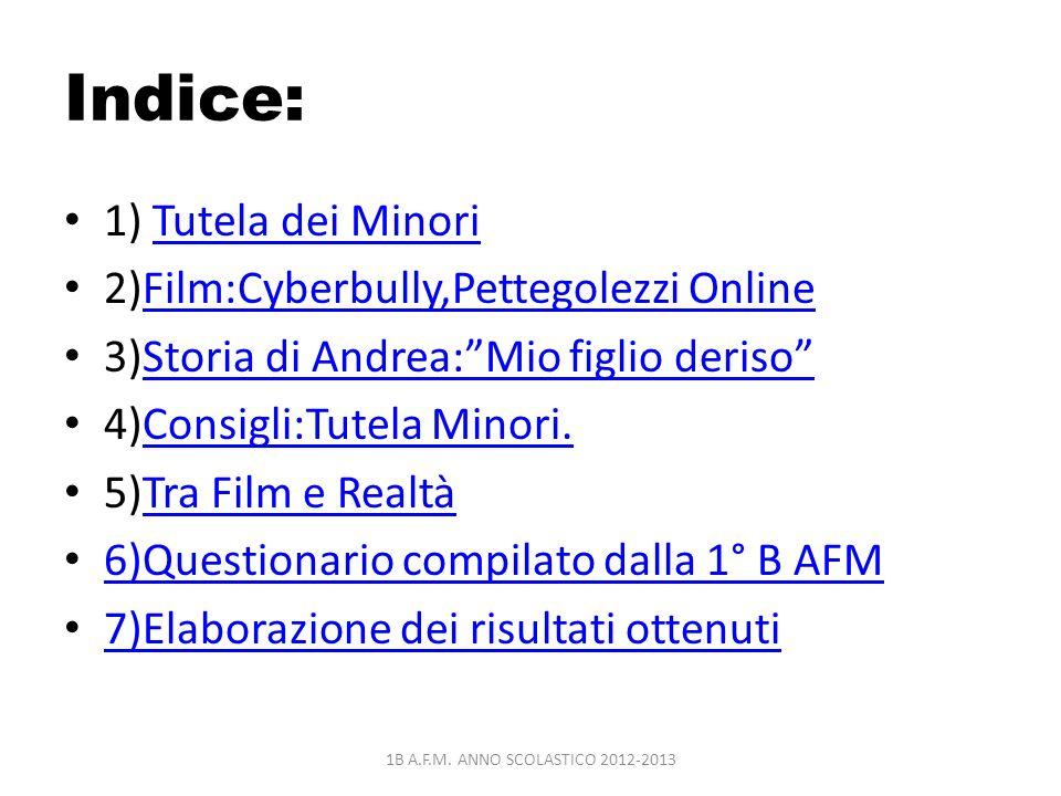 Indice: 1) Tutela dei MinoriTutela dei Minori 2)Film:Cyberbully,Pettegolezzi OnlineFilm:Cyberbully,Pettegolezzi Online 3)Storia di Andrea:Mio figlio d