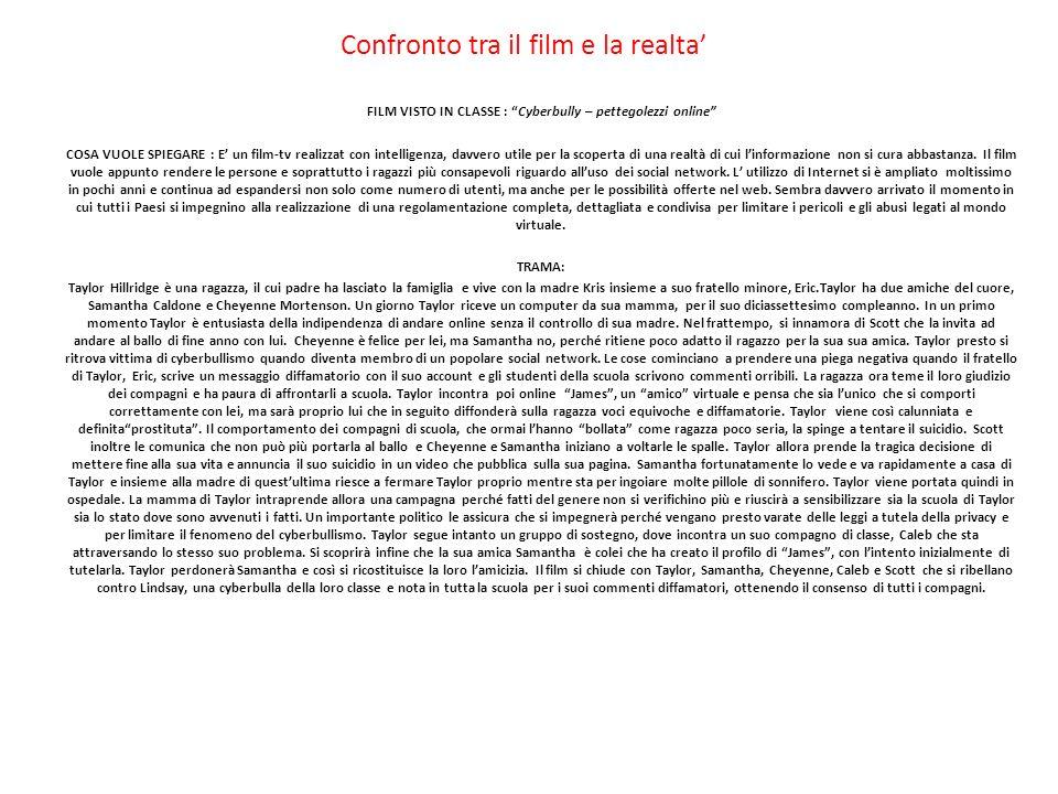 Confronto tra il film e la realta FILM VISTO IN CLASSE : Cyberbully – pettegolezzi online COSA VUOLE SPIEGARE : E un film-tv realizzat con intelligenz