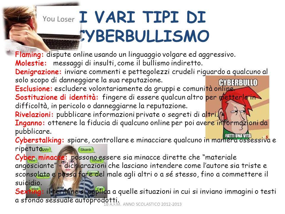 I VARI TIPI DI CYBERBULLISMO 1B A.F.M. ANNO SCOLASTICO 2012-2013 Flaming: dispute online usando un linguaggio volgare ed aggressivo. Molestie: messagg
