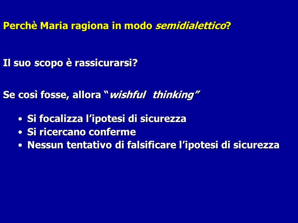 Perchè Maria ragiona in modo semidialettico? Perchè Maria ragiona in modo semidialettico? Il suo scopo è rassicurarsi? Se così fosse, allora wishful t
