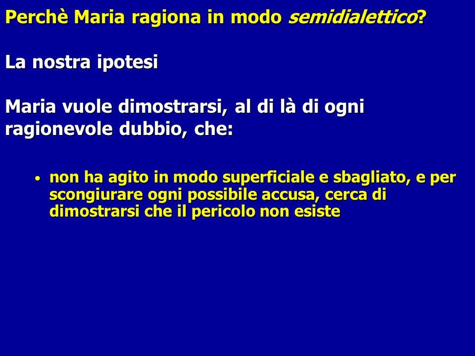 Perchè Maria ragiona in modo semidialettico? Perchè Maria ragiona in modo semidialettico? La nostra ipotesi Maria vuole dimostrarsi, al di là di ogni