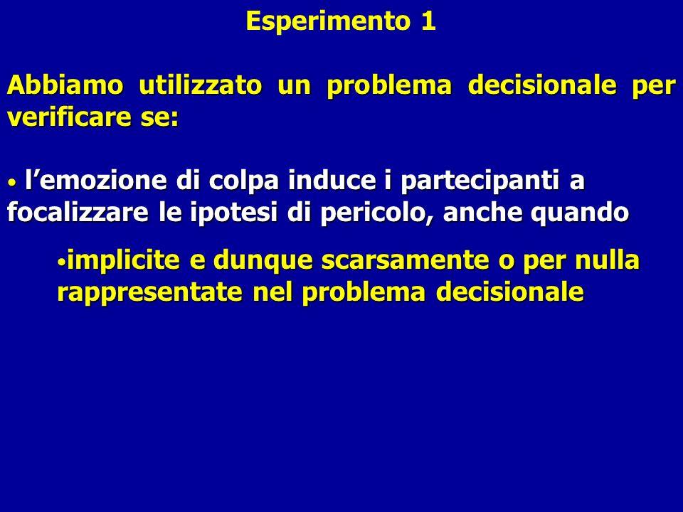 Esperimento 1 Abbiamo utilizzato un problema decisionale per verificare se: lemozione di colpa induce i partecipanti a focalizzare le ipotesi di peric