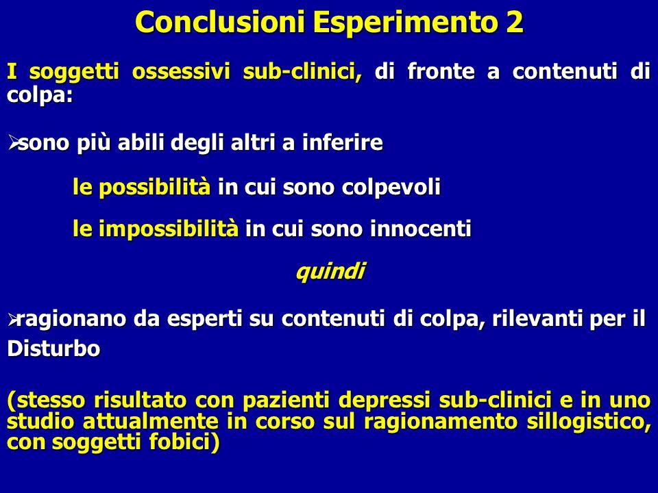 Conclusioni Esperimento 2 I soggetti ossessivi sub-clinici, di fronte a contenuti di colpa: sono più abili degli altri a inferire sono più abili degli