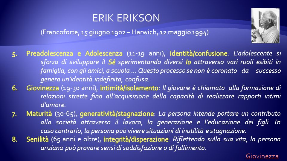(Francoforte, 15 giugno 1902 – Harwich, 12 maggio 1994) ERIK ERIKSON Giovinezza